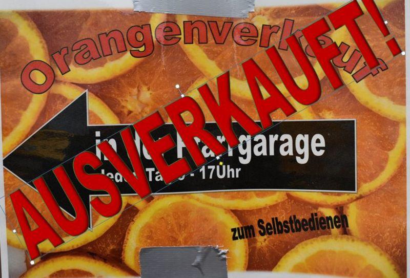 Orangen sind verkauft