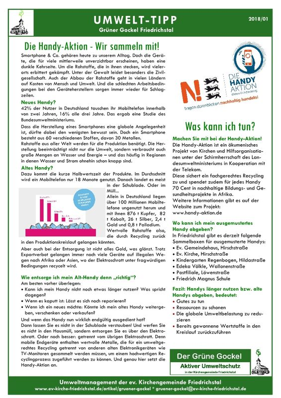 Umwelttipp vom Grünen Gockel 2018-1
