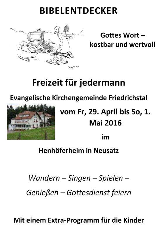 Gemeindefreizeit im Henhöferheim vom 29. April - 01. Mai 2016