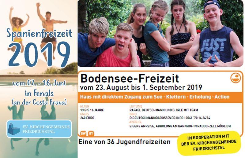 Anmeldung Pfingstfreizeit (Spanien) und Sommerfreizeit (Bodensee)
