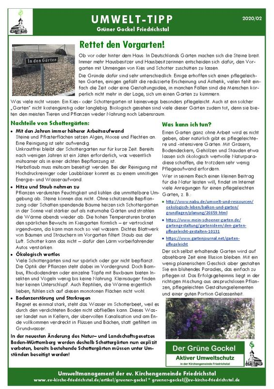 Umwelttipp vom Grünen Gockel 2020 - 2