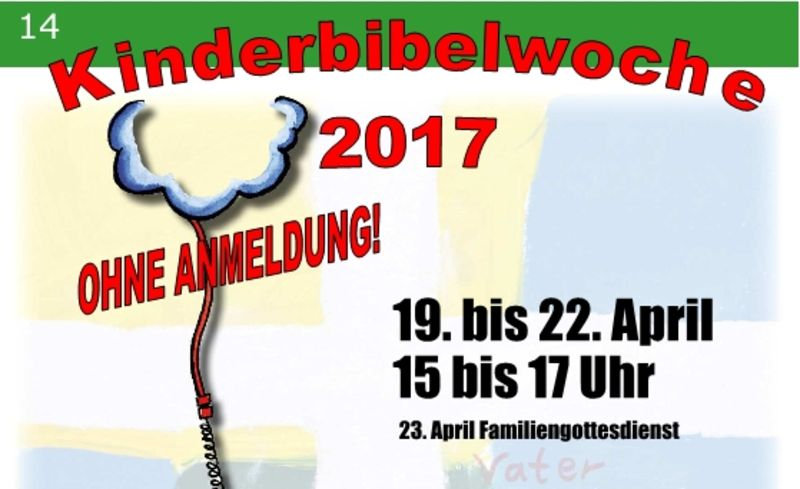 Kinderbibelwoche vom 19.-22. April 2017