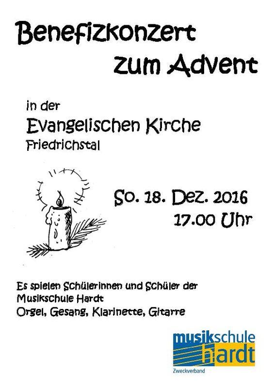 Benefizkonzert zum Advent in der evangelischen Kirche, So. 18. Dez. 2016 17.00 Uhr