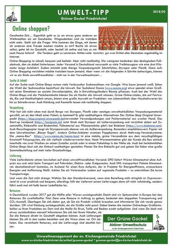 Umwelttipp vom Grünen Gockel 2018 - 2