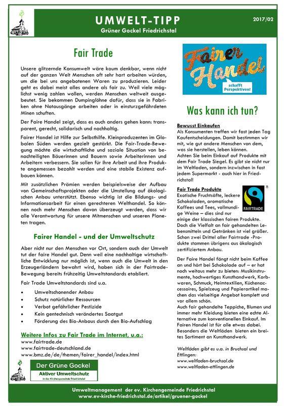 Umwelttipp vom Grünen Gockel 2017-2