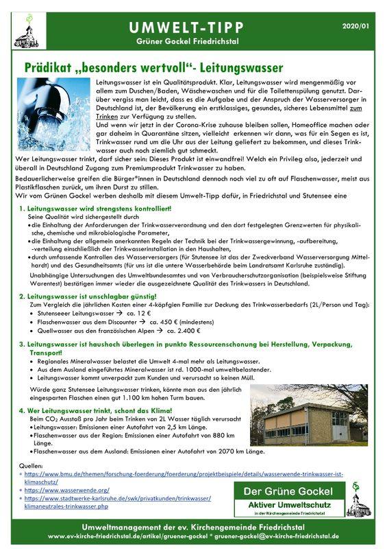 Umwelttipp vom Grünen Gockel 2020 - 1