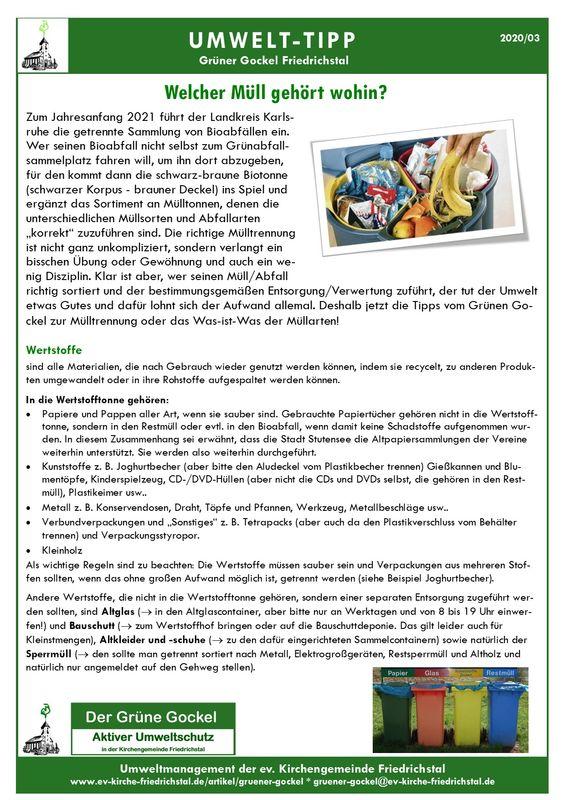 Umwelttipp vom Grünen Gockel 2020 - 3