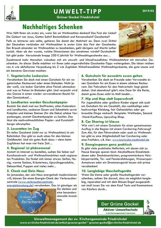 Umwelttipp vom Grünen Gockel 2019 - 2